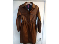Women's VERY Brown Faux Leather Belted Elasticated Waist Trench Coat_Size12