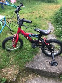 "Boys power rangers bike with stabilisers 14"" age 3+"