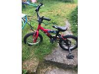 "Boys power rangers bike with stabilisers 14"" age 3+"