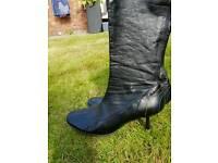 DUNE Black kitten heel boots size 6 (euro 39)