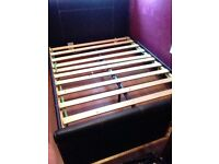 Leather double bed base