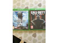 Xbox one games, COD black ops 3, Star Wars battlefront