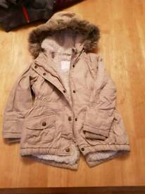 Girls beige parka coat 3-4 years