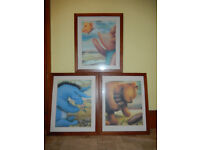 3 x Winnie The Pooh framed pictures Eeyore + Piglet childrens christmas xmas