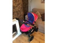 Icandy peach 3 2016 model in bubblegum with matching footmuff and seat liner