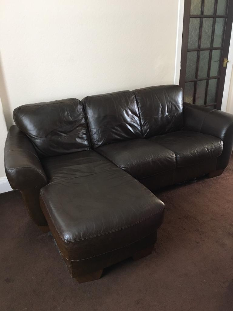 Brown Leather L Shaped Sofa And Armchair In Birtley County  ~ Brown Leather L Shaped Sofa
