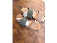 new and unworn ladies size4 elastic beige/brown sandals