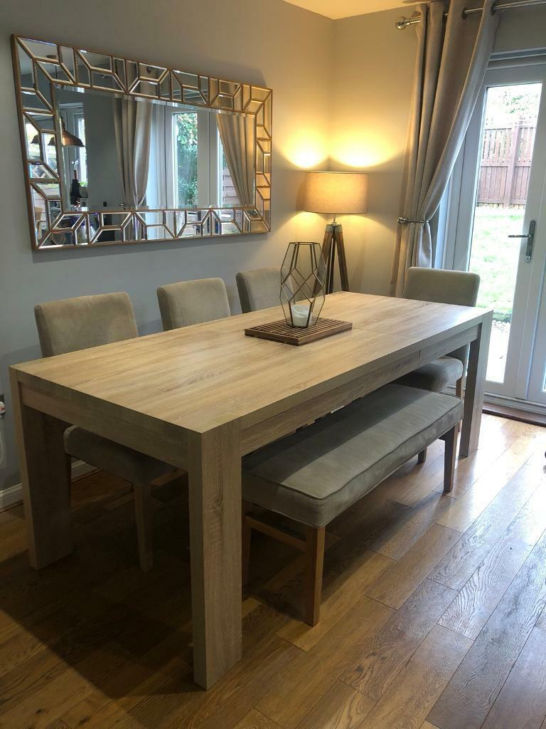 b268d4bfd8 Next home extendable 6/8 seater dining table with 4 chairs and matching  bench
