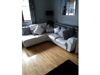 White leather Corner Sofa.