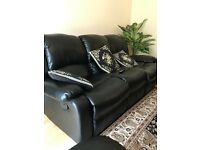 3+2 +1 black leather sofas
