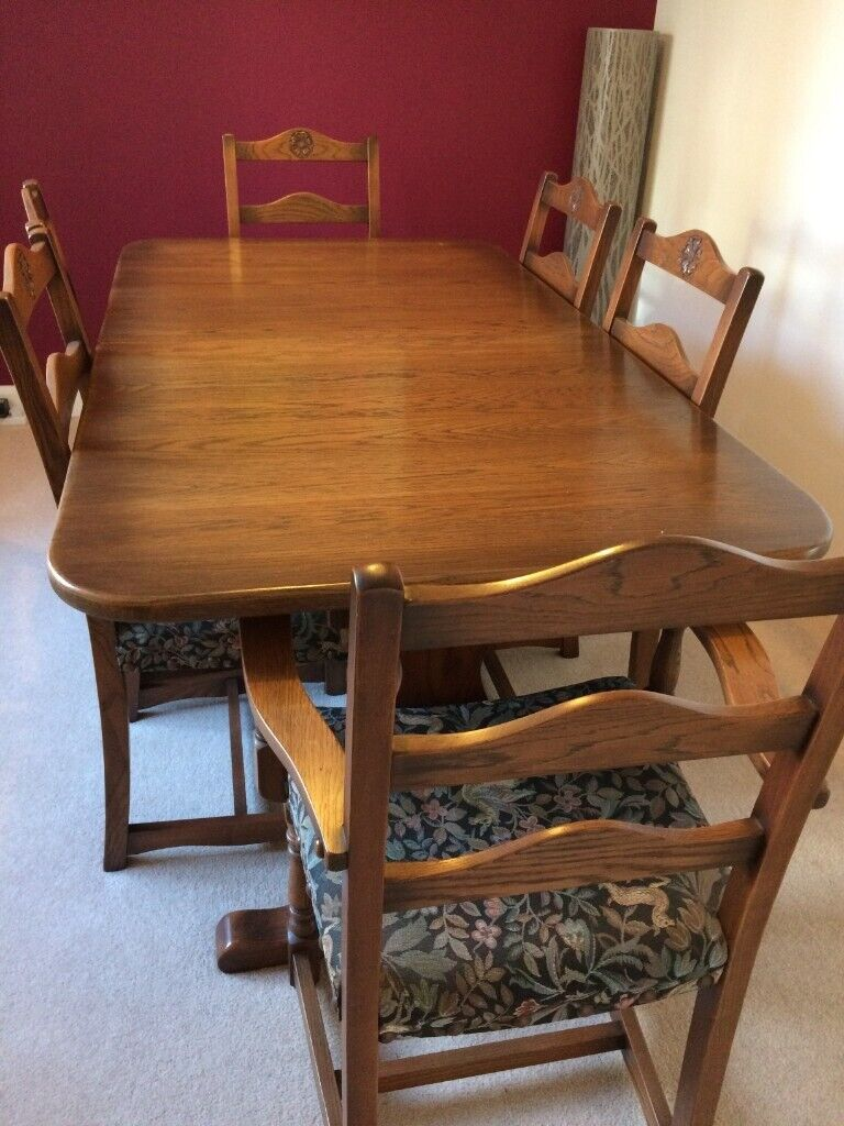 Enjoyable Dark Wood Dining Table And 6 Chairs In Exeter Devon Gumtree Onthecornerstone Fun Painted Chair Ideas Images Onthecornerstoneorg
