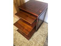 Antique mahogany small period writing desk with leather inlay