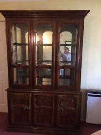 Large display cabinet with cupboard solid wood