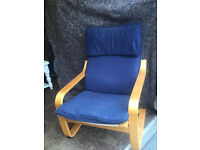 Ikea blue Poang chair with headrest Delivery available