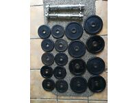 30kg Domyos Cast Iron Dumbbell Weights Set (barbell, dumbell, ez, bench, press)