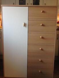 Beech/cream wardrobe with drawers
