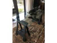 Ikea map glass Table with trestle legs