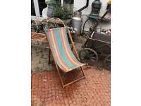 vintage wooden wood beach deck chair sun lounger