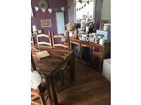 Dining table with 6 chairs, sideboard and Chest of drawers