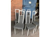 Stylish Grey Dining Chairs Cool Cut-out High Back Metal Leg Set of 6.
