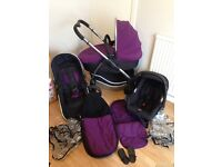 IMMACULATE NEARLY NEW ICANDY Strawberry Pushchair + Maxi Cosi Car Seat + Carrycot + Footmuff