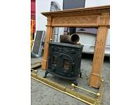 Multi fuel stove wood burner log coal fire heater