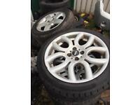"Mini Cooper 17"" alloy wheels x4 with tyres"