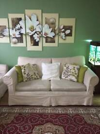 Sofa bed set with 2 armchairs and footstool