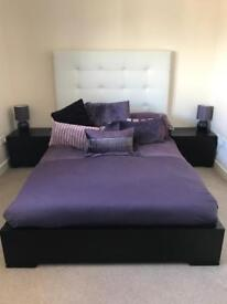Double White Leather and Dark Oak Bed (including side units)