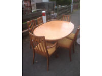 Stunning Oval G Plan, Teak, Extending Dining Room Table with 6 Matching Chairs (Fresco Range)
