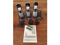 3 PANASONIC CORDLESS PHONES WITH ANSWERING MACHINE