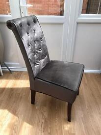 2 x Wooden (Lombok Style) Grey Velvet Chairs