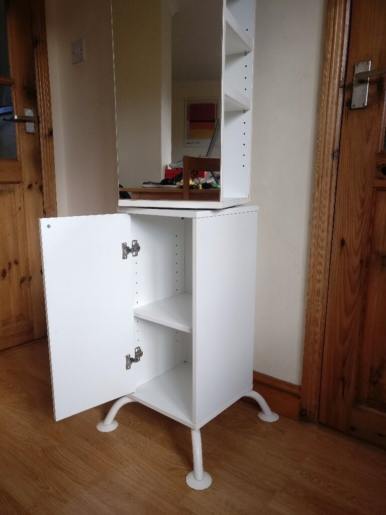 Bathroom Storage Ikea Standalone Unit With Rotating Mirror And Shelves
