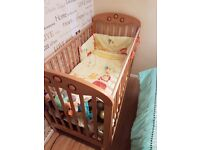 cot with bedding, brand new matteress and bumper