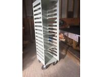 Industrial shelf trolley, vintage workshop styling