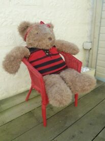 Giant Teddy Bear (110 cm Tall) with Red Ikea Wicker Chair