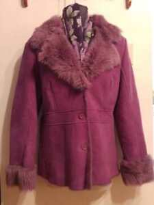 NEW L XL 14 16 DANIER LEATHER 100% Shearling Jacket Fuscia Lovely Spring Coat & Free Matching Scarf