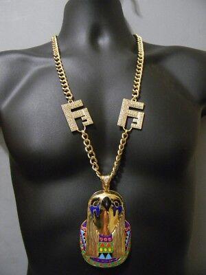 Egyptian Horus Bird Hip Hop Iced Out Vector Chunky Cuban Chain Pendant Necklace
