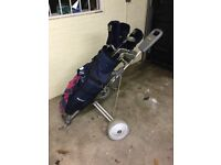Set of Golf Clubs and trolly