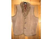 ladys jacket waistcote sheepskin look excellent condition size 20