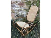 Vintage Bentwood rocking chair with original cane seat and back panel