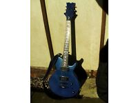 Dean Electric Blue Double Humbucker Guitar Leather Strap Locks Case new strings