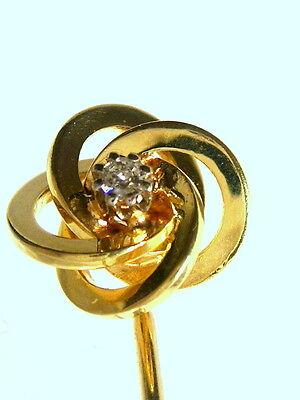 Krawatten- Nadelbrosche.0,05 ct. Brilliant. 585/000 14 kt .GG.gepfl. Juweliersq