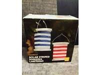 Solar Striped Hanging Lanterns 2 Pack Sainsburys