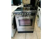 Zanussi 60cm wide electric ceramic cooker with oven in stainless steel silver £249
