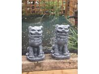Gorgeous large solid pair of Chinese foo dogs