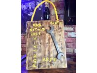 Bespoke Gift for Fathers Day - Key Holder with Vintage Spanner - Wall Art