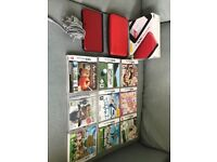 NINTENDO 3DS XL RED & BLACK CASE CHARGER GAMES