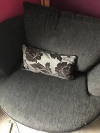 Black fabric swivel chair great condition