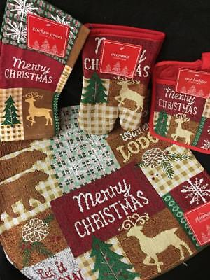7 pc kitchen set Merry Christmas winter Lodge tapestry Placemats oven mitt towel Lodge Tapestry Placemat